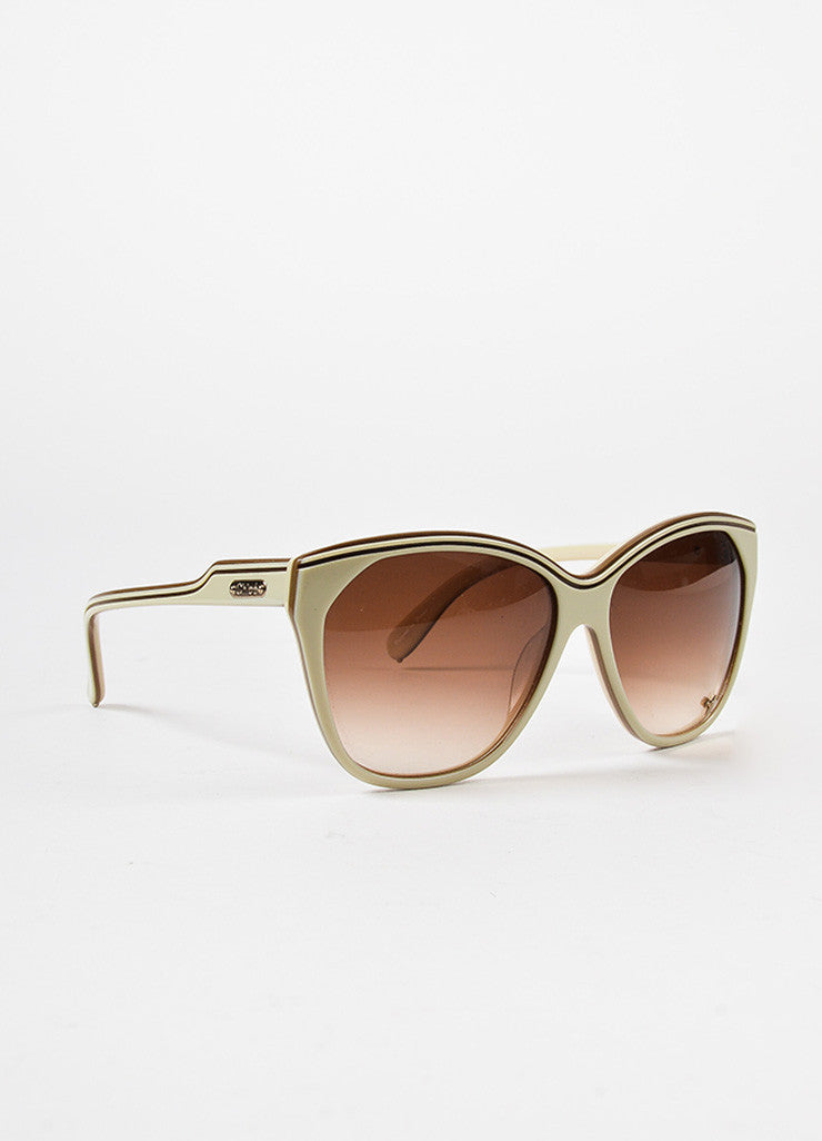 "Chloe Cream Brown Gradient Lens Oversized Round ""Tilla"" Sunglasses Front"