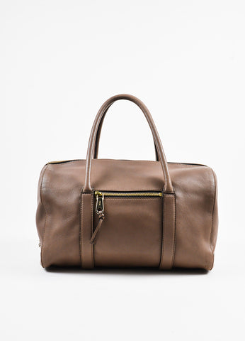 "Chloe Taupe Leather Duffle Satchel ""Madeleine"" Handbag Frontview"