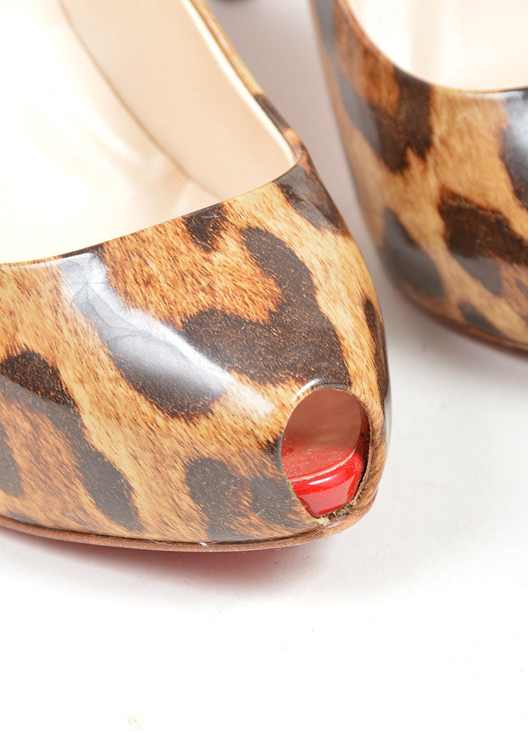 "Brown Christian Louboutin Patent Leather Leopard Print ""Clic 120"" Peep Toe Pumps Detail"