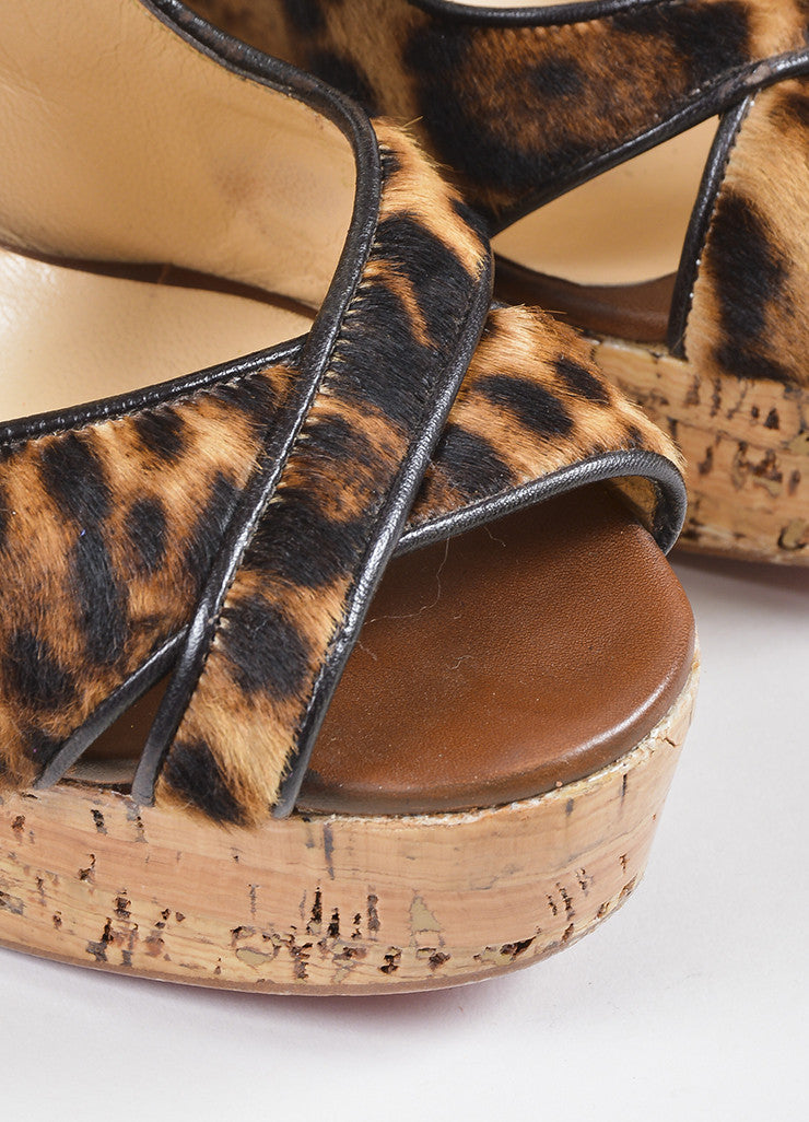 Ì_Ì_å¢Ì_?ÁÌ_Ì_Christian Louboutin Black and Brown Leopard Pony Hair Cork Sandal Wedges Detail