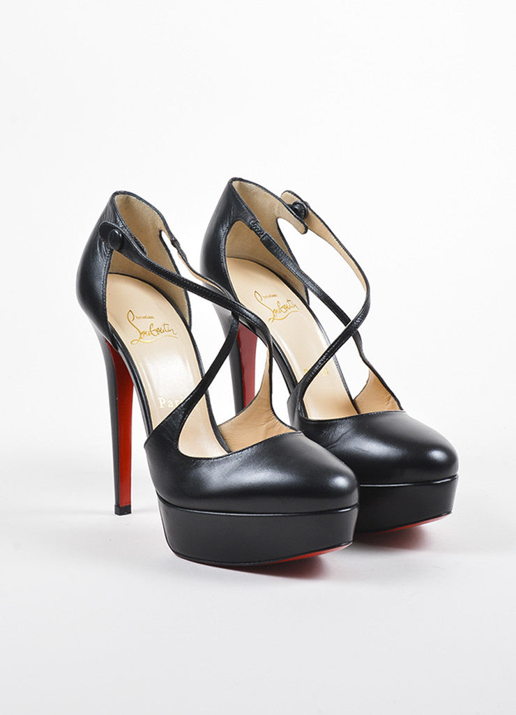 "Christian Louboutin Black Leather Criss Cross Platform ""Borghese"" Heels Frontview"