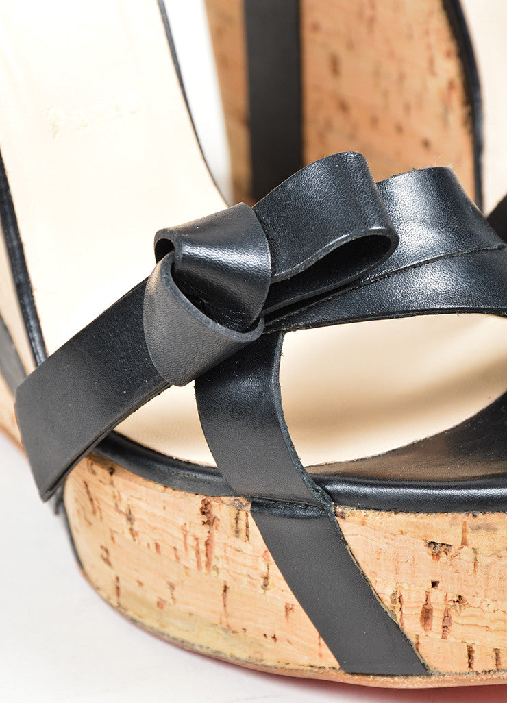 "Black Christian Louboutin Leather ""Miss Cristo 140"" Cork Wedge Sandals Detail"