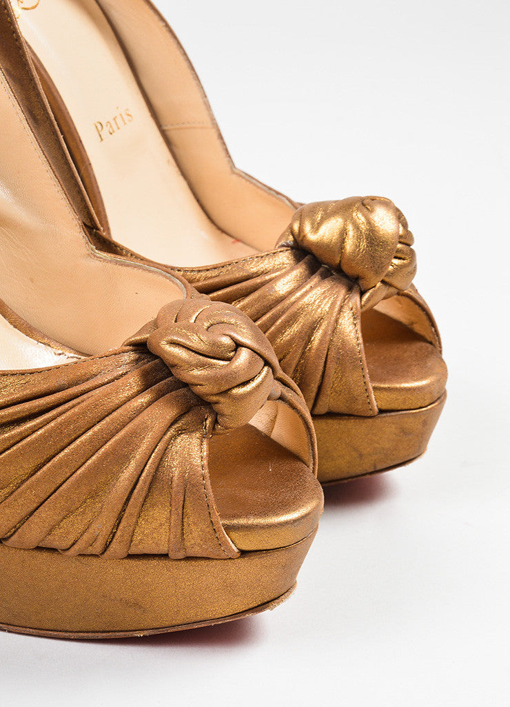 "Bronze Leather Christian Louboutin ""Jenny"" Peep Toe Platform Pumps Detail"