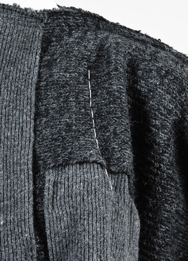 Comme Des Garcons Grey and Black Wool Knit Patchwork Pleated Skirt Dress Detail