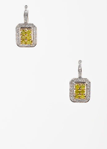 """DLC"" 14K White Yellow Gold Green Diamond Square Drop Earrings Frontview"