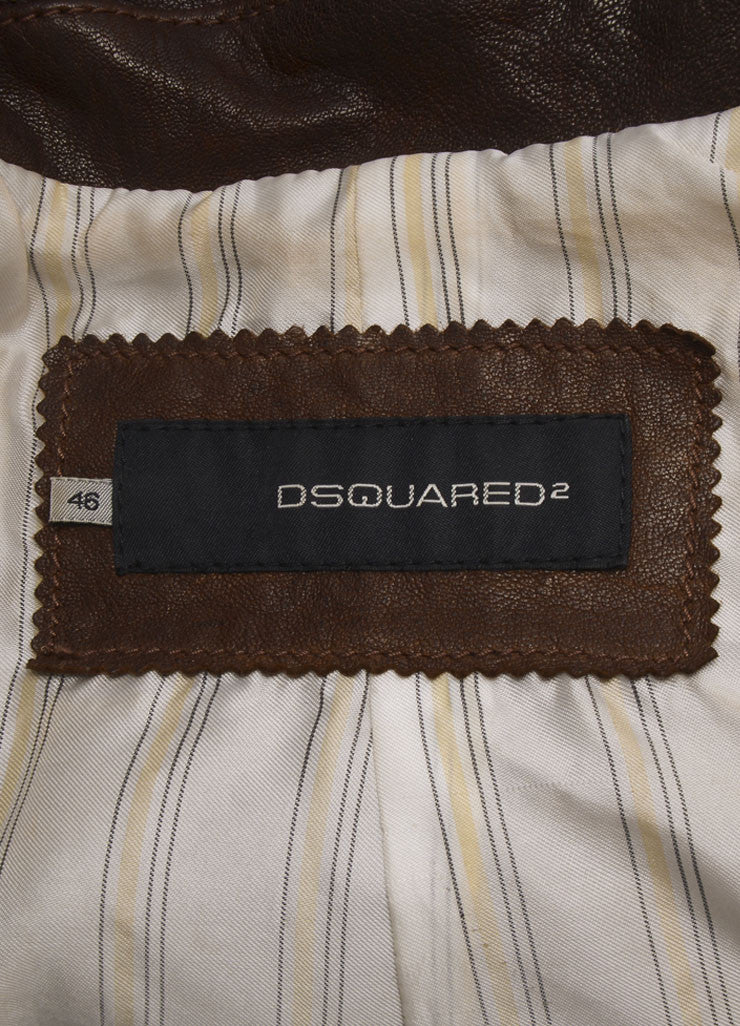 DSquared2 Brown Distressed Leather Cropped Moto Jacket Brand