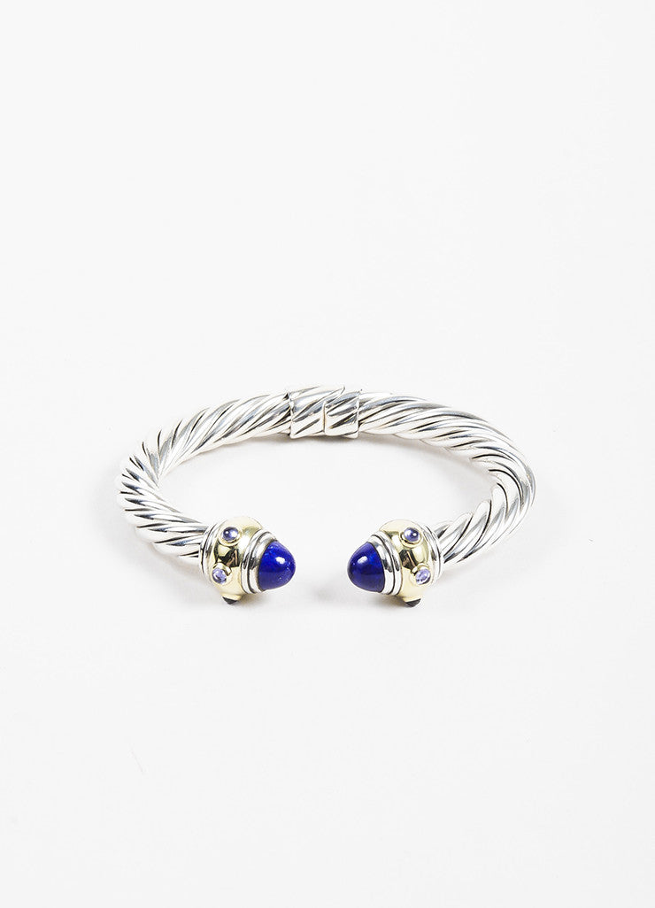 "David Yurman Sterling Silver, Gold, and Purple ""Renaissance"" Cable Bracelet Frontview"