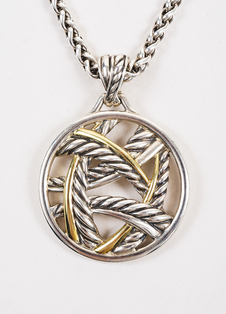 David Yurman Sterling Silver and 18K Yellow Gold Two Tone Cable Pendant Necklace Detail 2