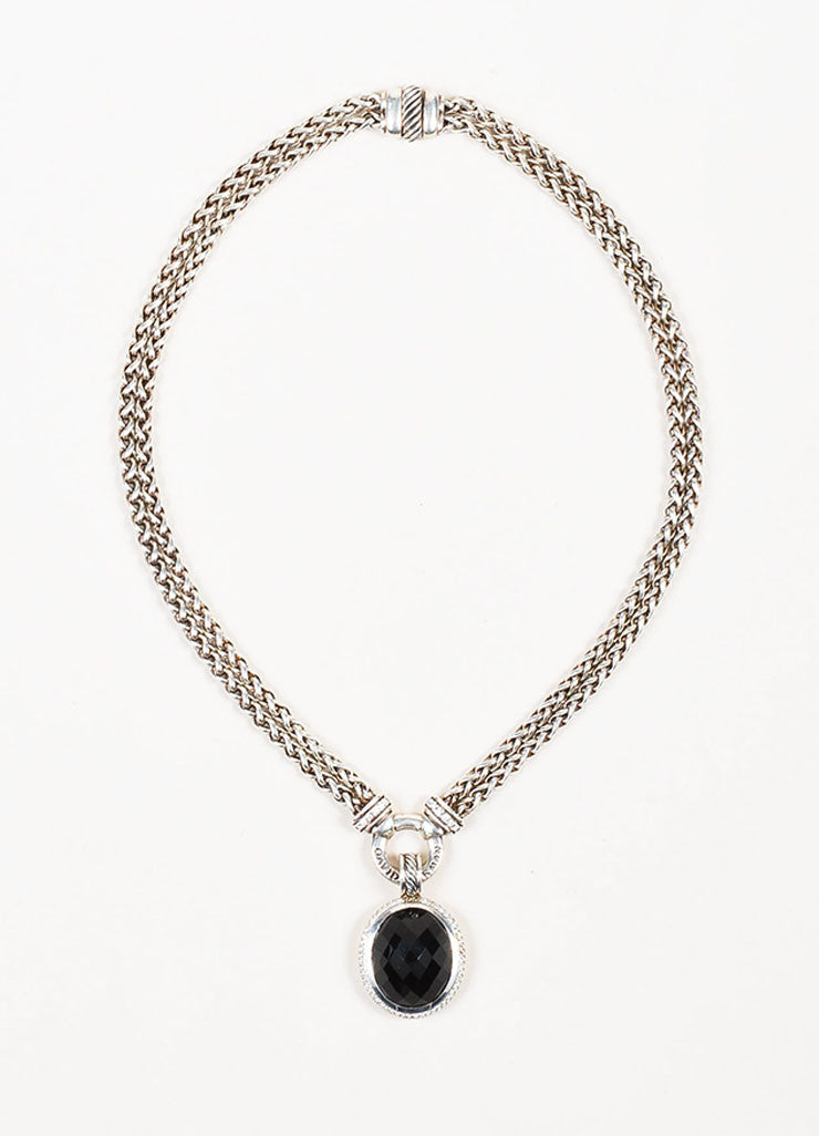 David Yurman Sterling Silver Black Onyx Diamond Double Wheat and Pendant Necklace Frontview