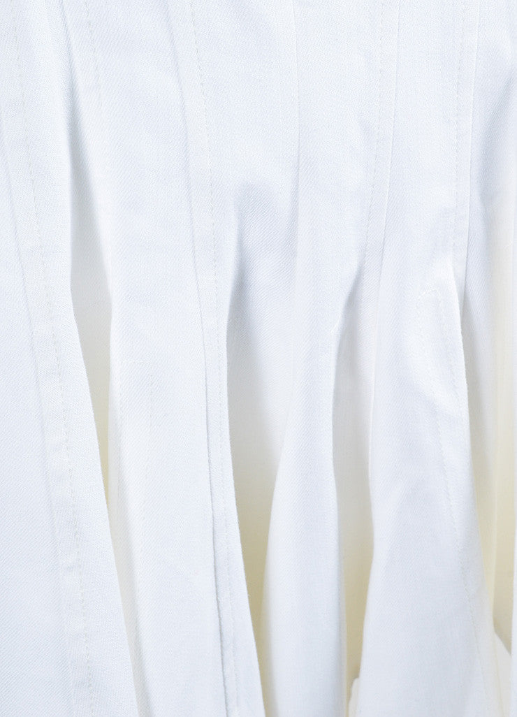 Derek Lam White Stretch Cotton Denim Sleeveless V-Neck Paneled and Flared Dress Detail
