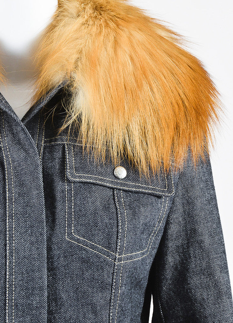 Dolce & Gabbana Dark Blue Denim Fox Fur Removable Collar Snap Front Jacket Detail