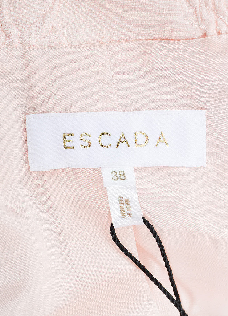 Escada Pink Silk Blend Fox Fur Trimmed Floral Jacquard Belted Jacket Brand