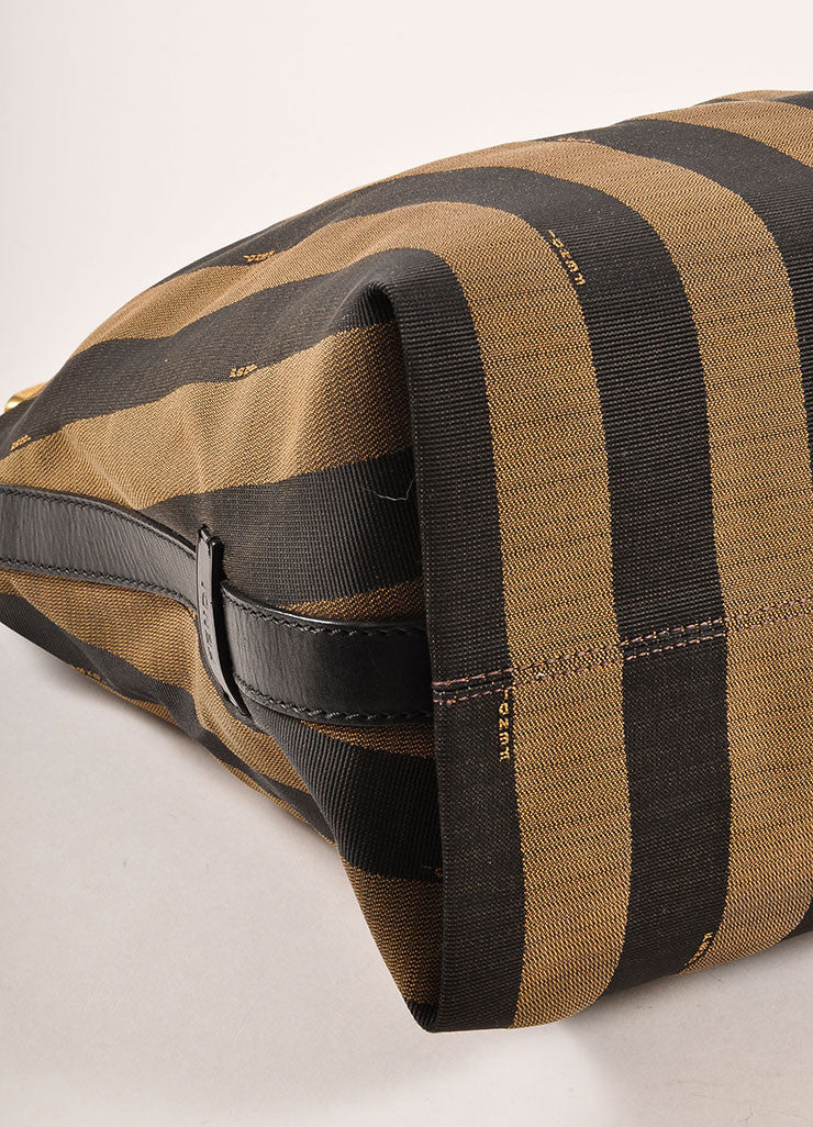 "Fendi Brown, Black, and Red Canvas Leather Trim Stripe ""Pequin"" Hobo Bag Detail"