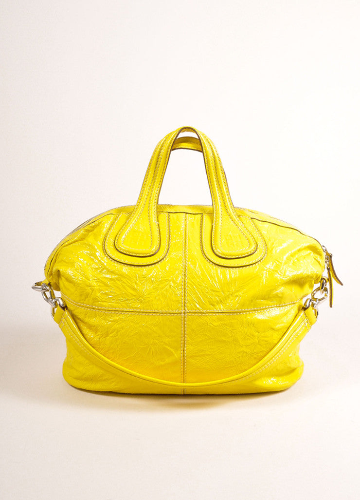 "Givenchy Canary Yellow Crinkled Patent Leather Medium ""Nightingale"" Bag Frontview"