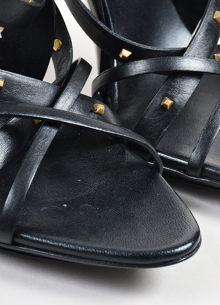 Gucci Black and Gold Leather Studded Strappy Heeled Sandals Detail