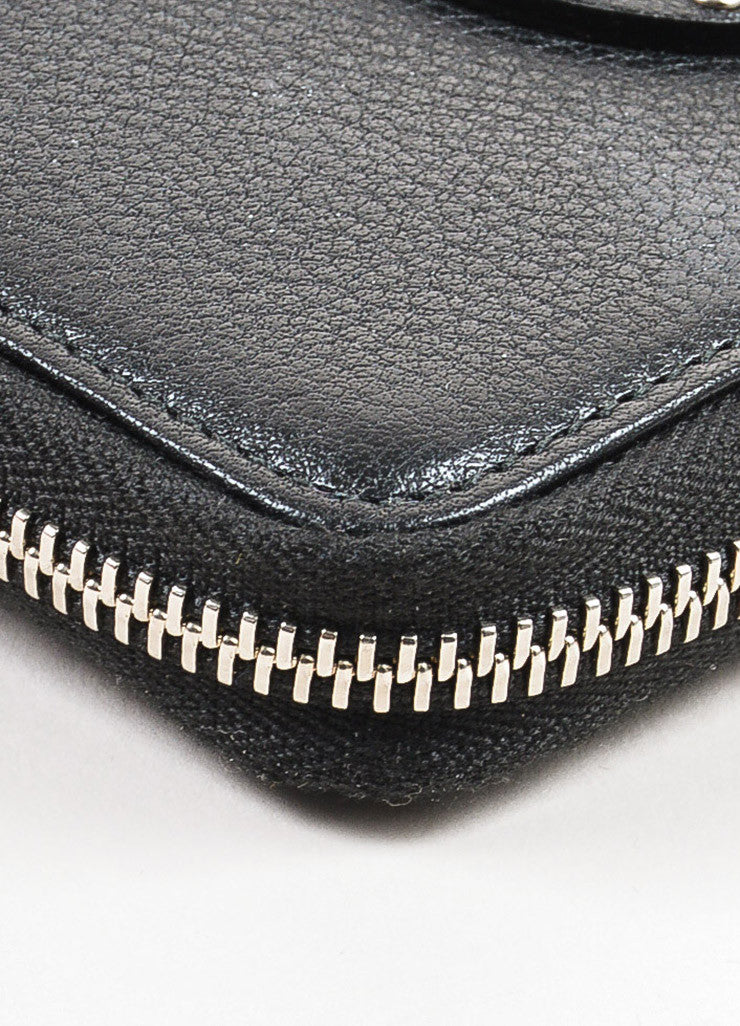 "Gucci Black Grained Leather Silver Toned Studded ""Soho"" Zip Wallet Detail"