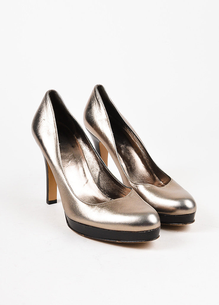 Gucci Metallic Silver Brown Trim Leather Almond Toe Platform Pumps