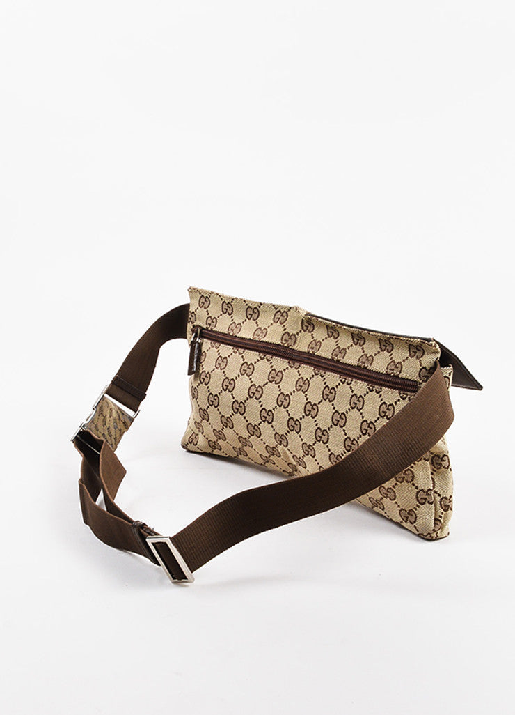 "Gucci Tan and Brown Canvas Leather Trim Monogram Print ""Original GG"" Belt Bag Backview"