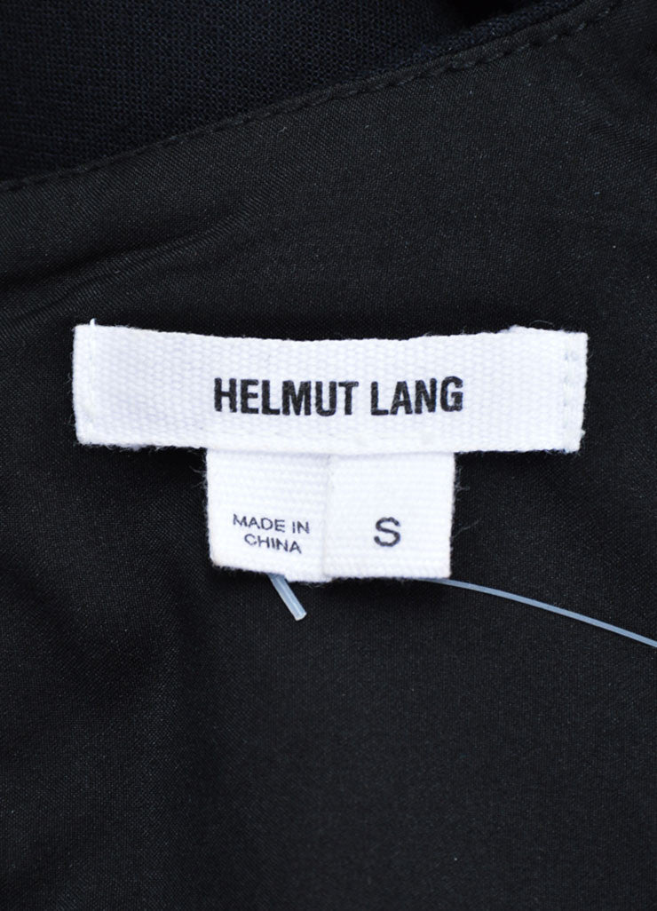 Helmut Lang Black and Navy Pony Hair Panel Sleeveless Top Brand