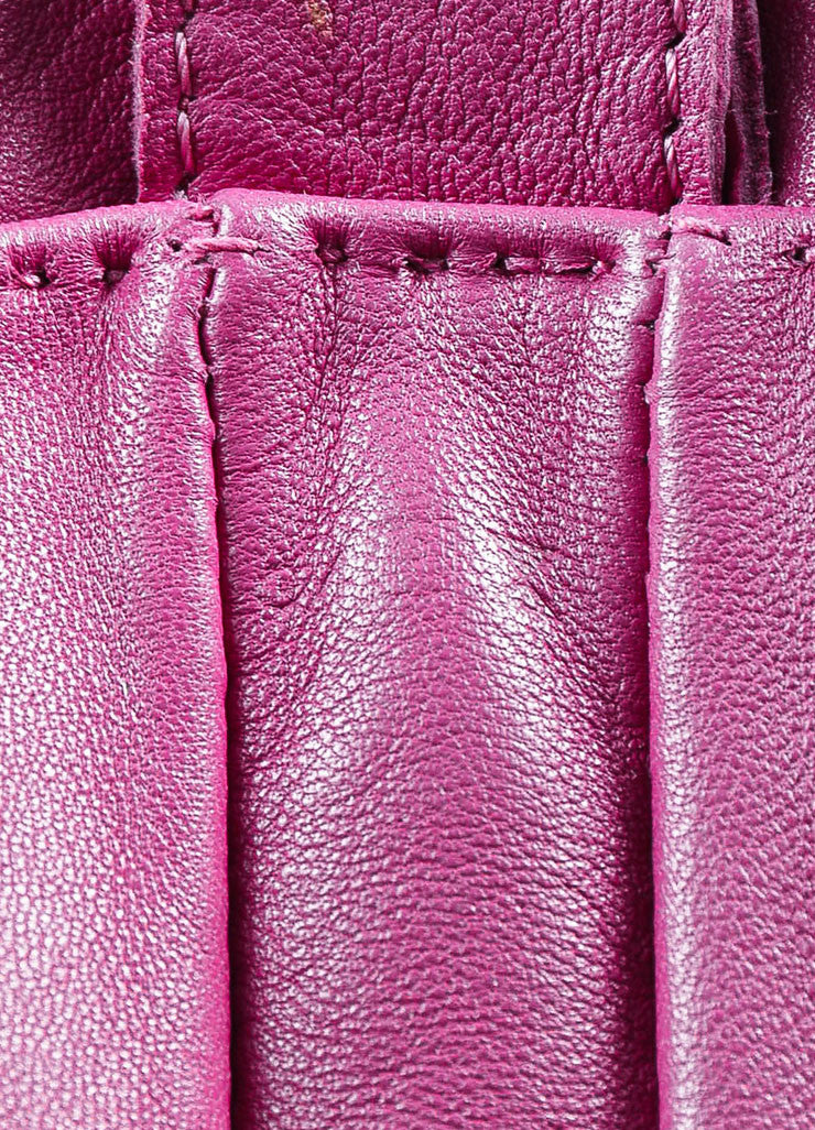 "Hermes Dark Magenta Lambskin Leather Perforated Logo ""Clou de Selle"" Bag Date Code"