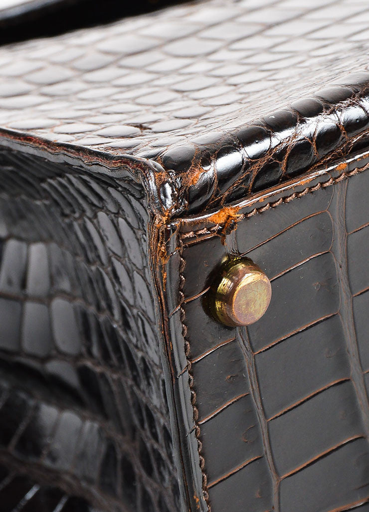 "Hermes Brown and Gold Toned Porosus Shiny Crocodile ""Kelly 32"" Handbag Detail"