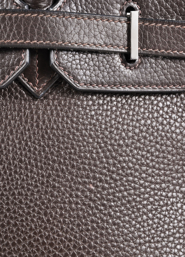 "Hermes Chocolate Brown and Silver Toned Palladium Clemence Leather 35cm ""Birkin"" Bag Detail 4"