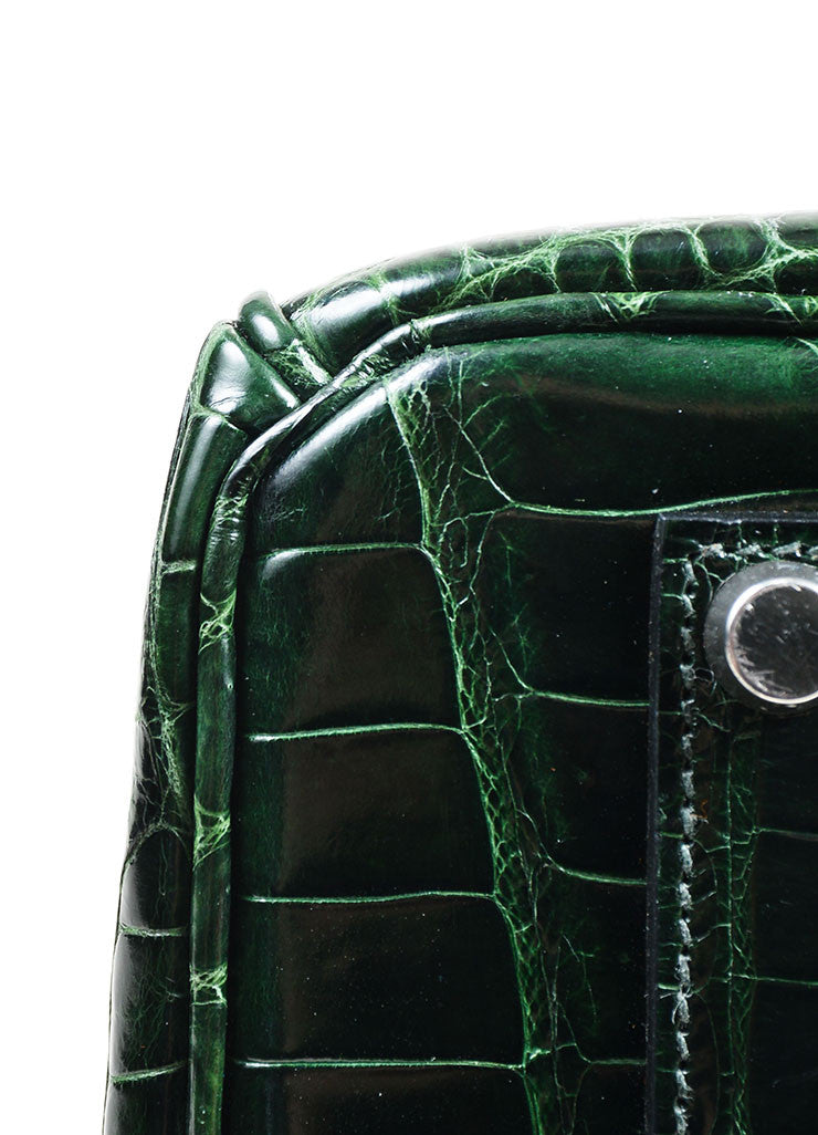 "Dark Green Hermes Crocodile Porosus Shiny Leather ""35cm Birkin"" Bag Detail"