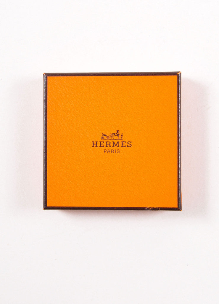 Hermes Gold Toned and Brown Printed Enamel Animal Figure Narrow Bangle Bracelet Box