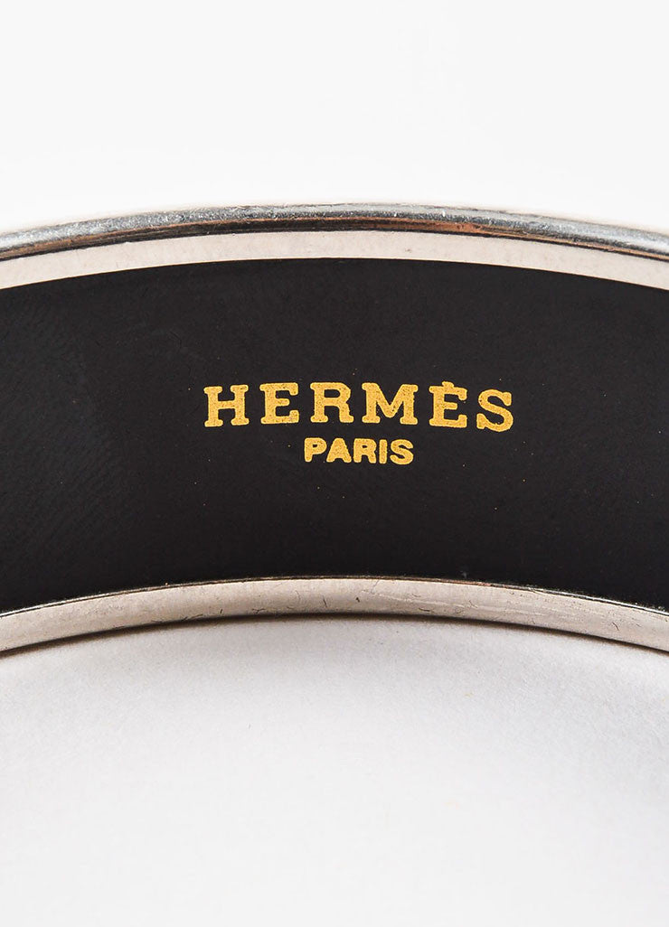 Hermes Grey and Multicolor Enamel and Palladium Plated Animal 'Hermes' Print Bangle brand