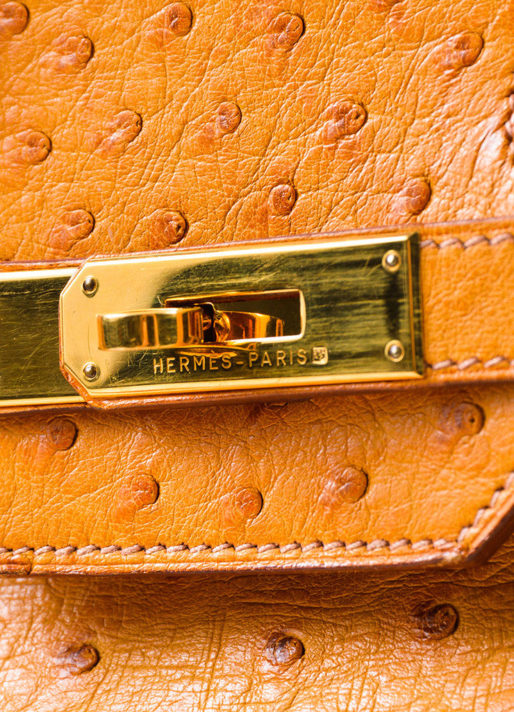 "Hermes 'Saffron' Orange Tan Ostrich Leather 35cm ""Birkin"" Handbag Detail 4"