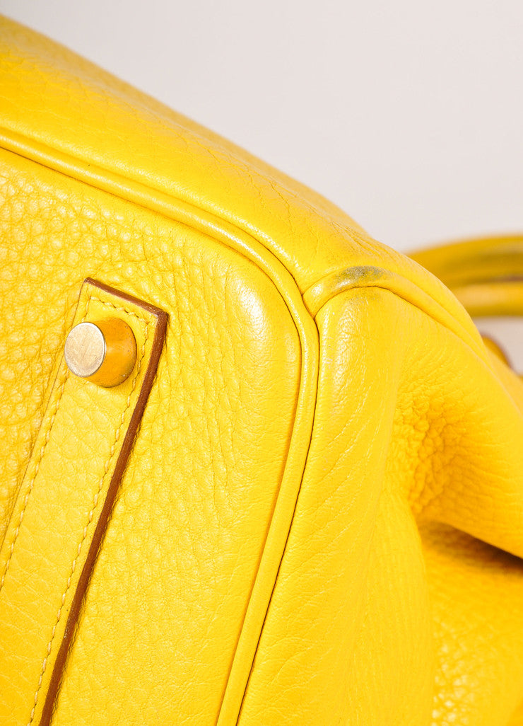 Hermes Yellow and Gold Toned Pebbled Togo Leather 35cm Birkin Bag Detail 2
