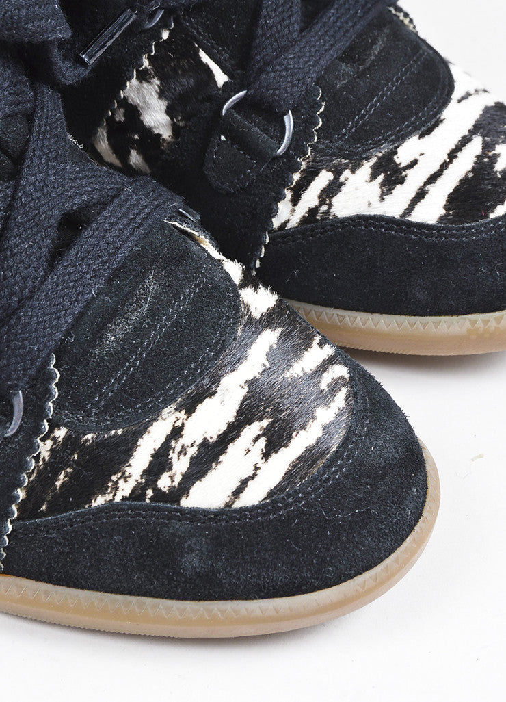 "Black and White Isabel Marant Suede and Pony Hair Zebra ""Bobby"" Wedge Sneakers Detail"