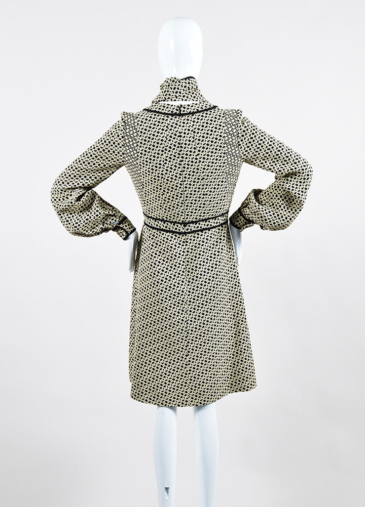 Cream and Black J. Mendel Knot Jacquard Long Sleeve Shirt Dress with Scarf Backview