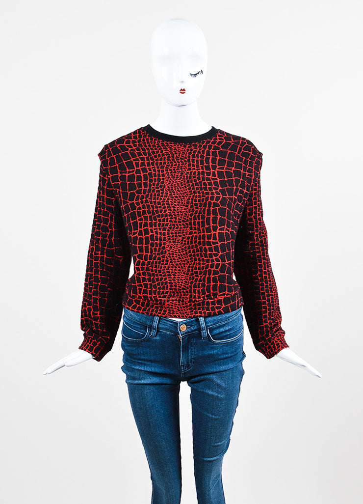 Kenzo Black and Red Textured Pullover Sweater Frontview