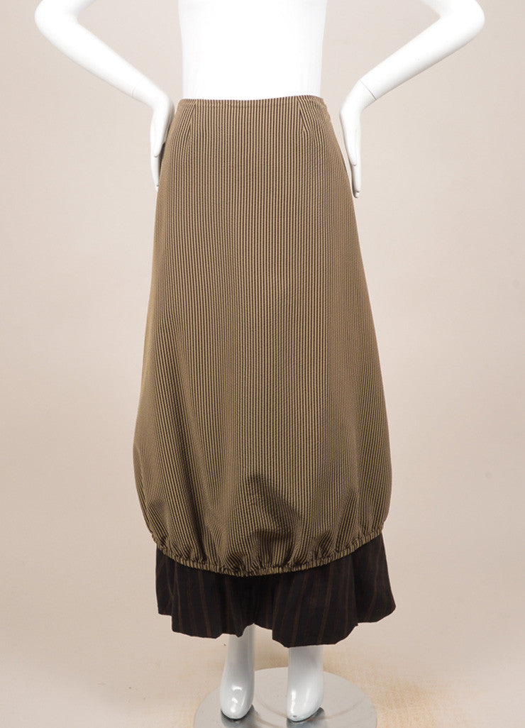 Kenzo Brown and Beige Textured Knit Contrast Stripe Layered Bubble Maxi Skirt Frontview
