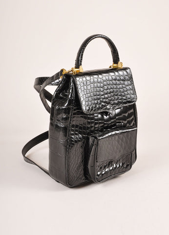 Lana Marks Black Alligator Convertible Backpack Frontview