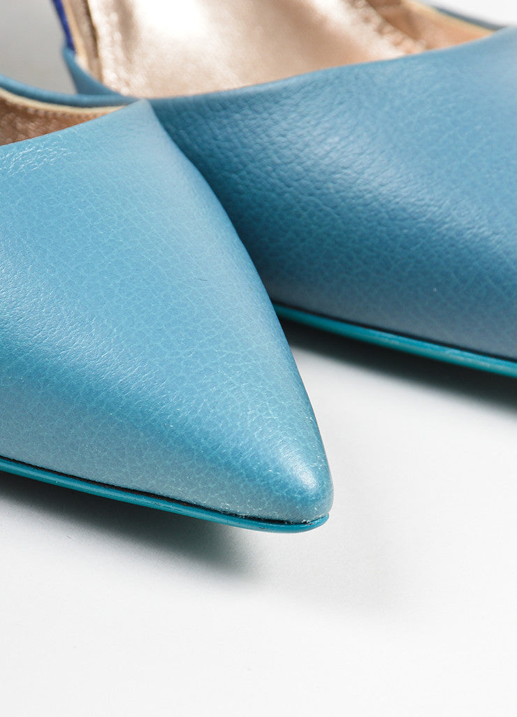 Lanvin Blue and Teal Patent Leather Pointed Toe High Heel Pumps Detail