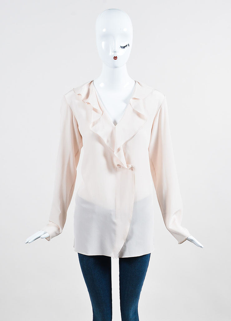 Blush Pink Lanvin Silk Ruffle Long Sleeve Blouse Frontview