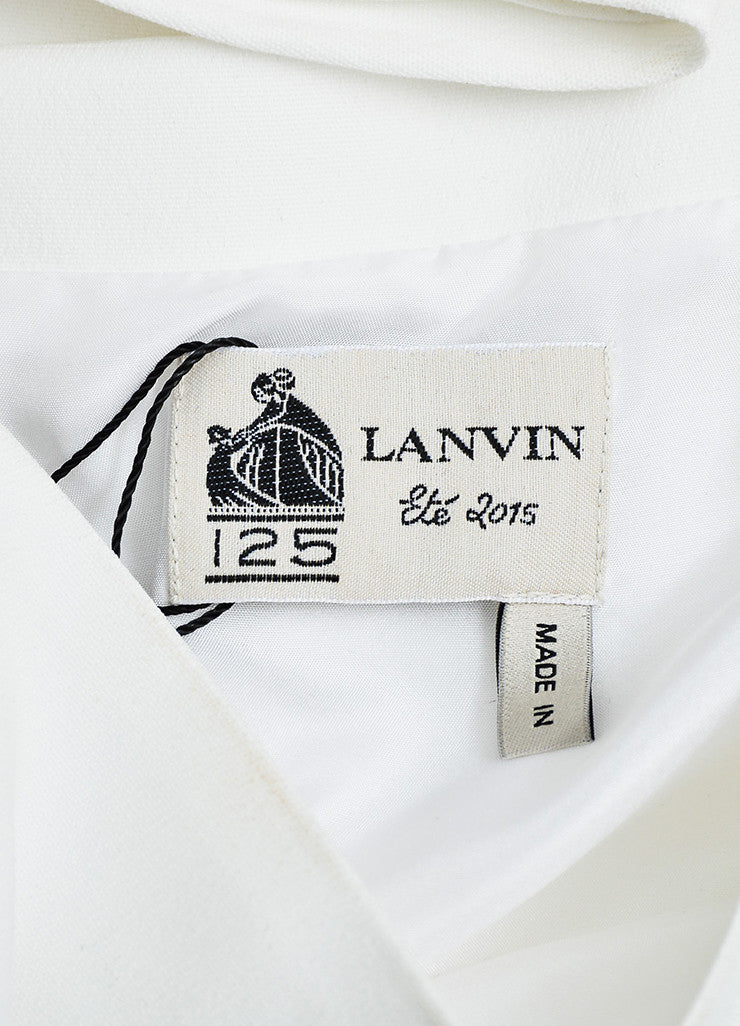 White Lanvin Crepe Pearl Detail Sleeveless Boxy Top Brand
