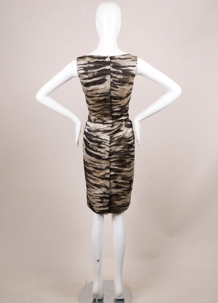 Lanvin New With Tags Black and Grey Silk Zebra Print Sleeveless Shift Dress Backview