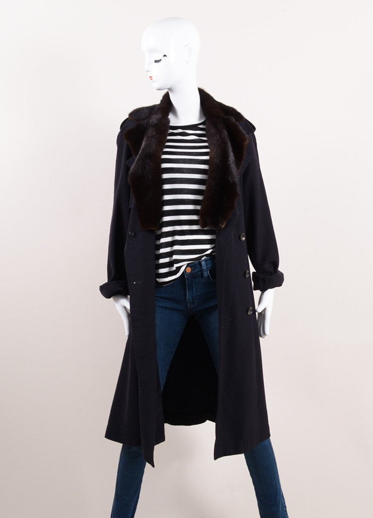 Lanvin Navy and Brown Wool Mink Collar Double Breasted Belted Trench Coat Frontview
