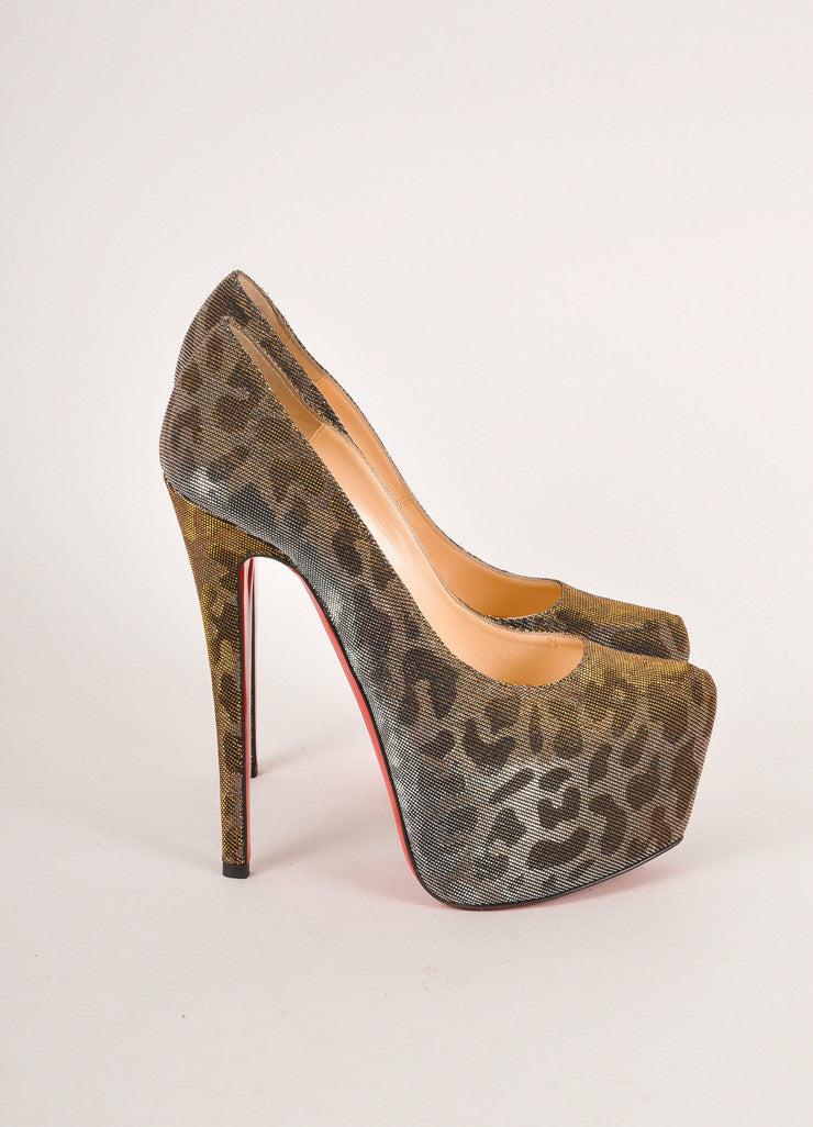 "Christian Louboutin Silver and Gold Metallic Leopard Print ""Daffodile"" Pumps Sideview"