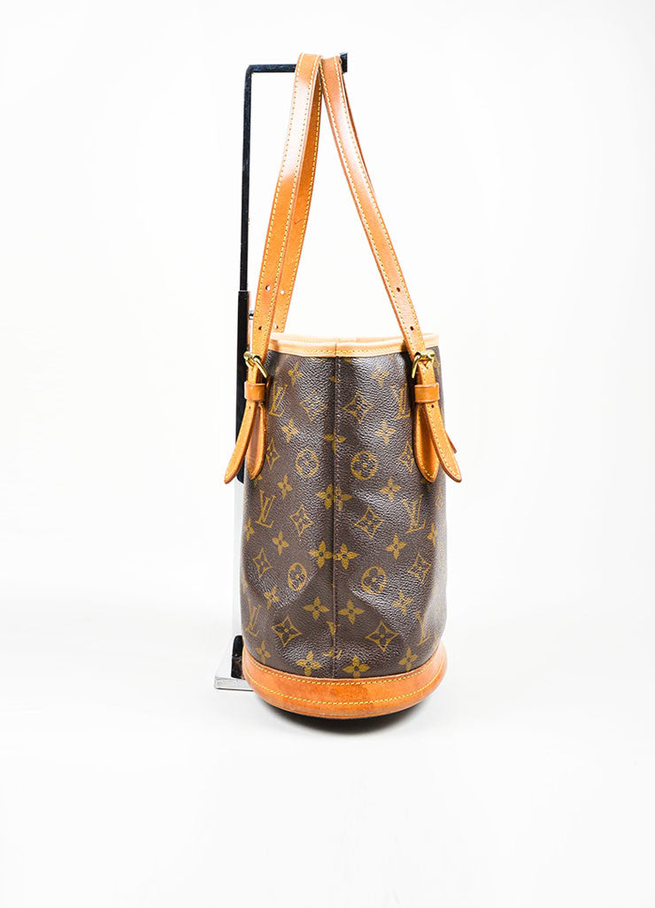 "Louis Vuitton Brown Coated Canvas ""Petite Bucket"" Bag Side"