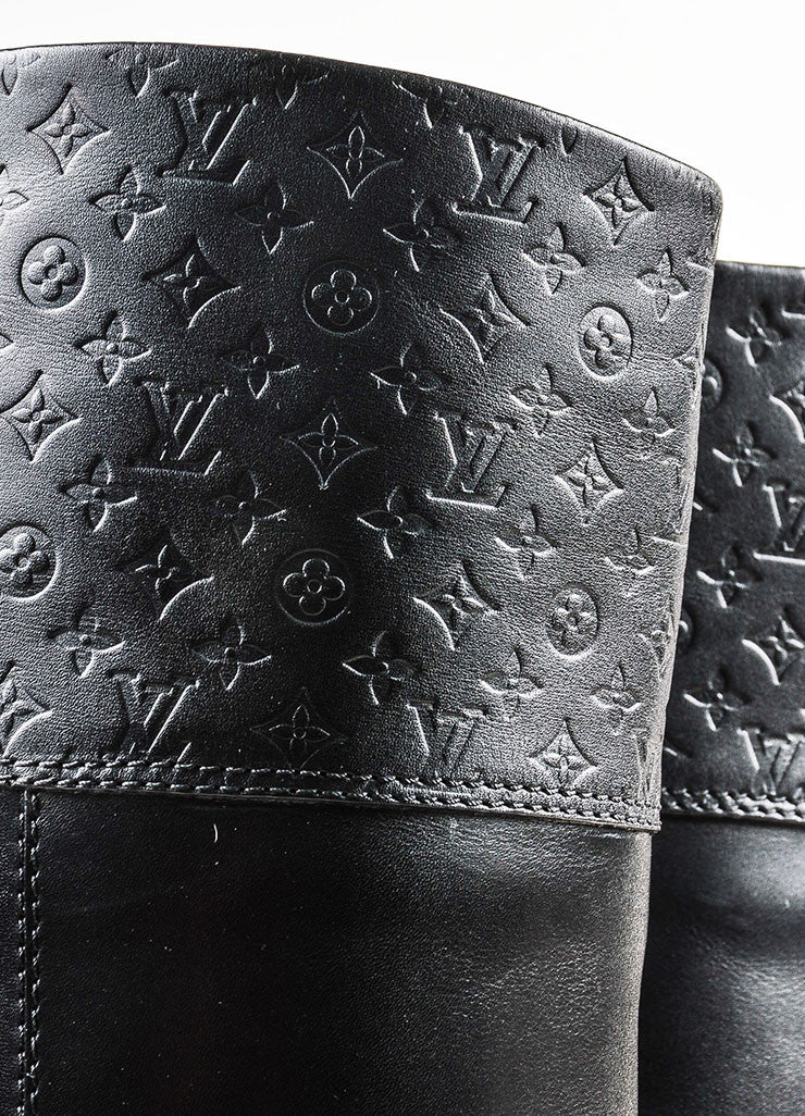 "Louis Vuitton Black Leather Monogram ""Free High"" Riding Boots Detail"