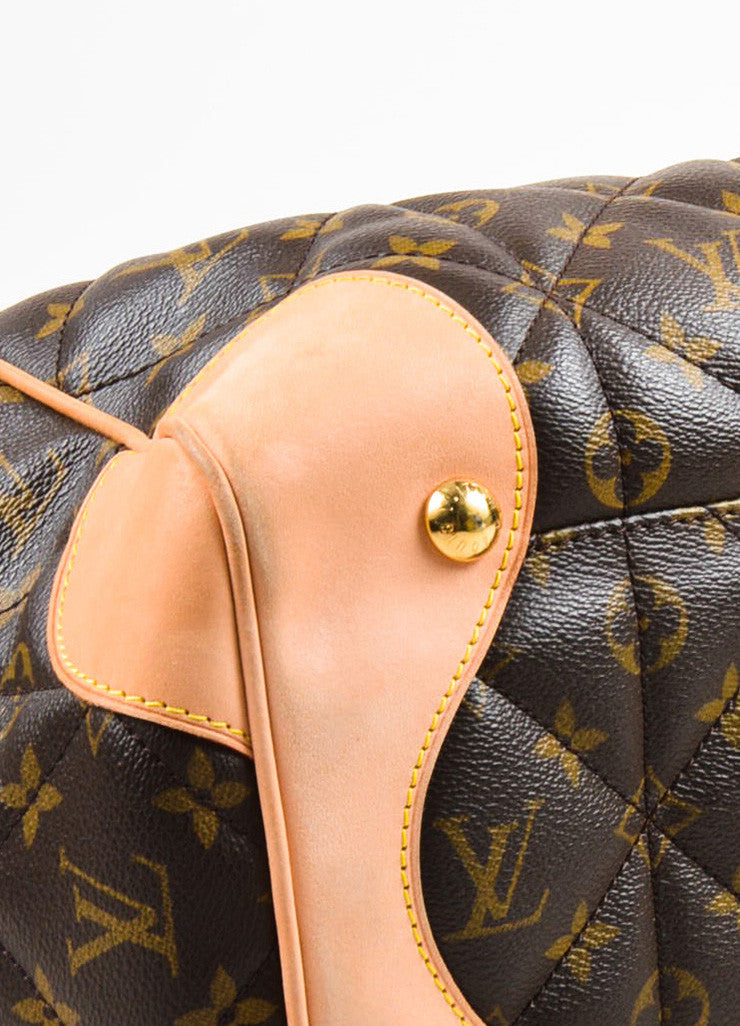 "Louis Vuitton Brown and Beige Coated Canvas and Leather ""Etoile Shopper"" Bag Detail"
