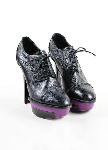 "Black and Purple Louis Vuitton Pebbled Leather ""Sally"" Lace Up Platform Booties Frontview"