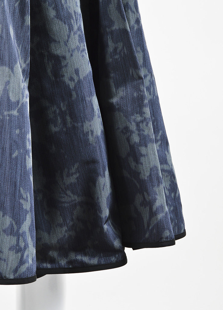Louis Vuitton Dark Green Black Silk Print Full A-Line Skirt Detail