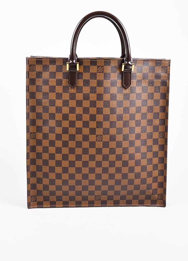 "Louis Vuitton ""Ebene"" Brown Coated Canvas Leather ""Damier Sac Plat NM"" Bag Frontview"