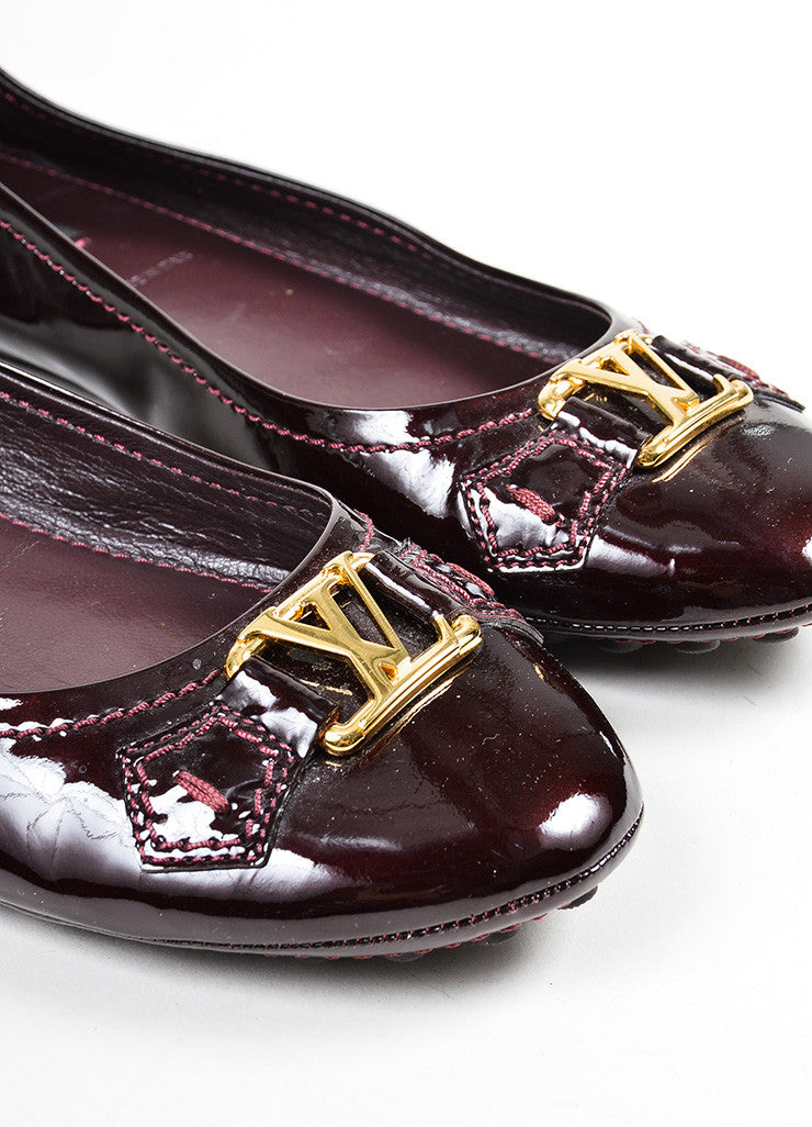 "Eggplant Purple Louis Vuitton Leather Driving ""Oxford Ballerina"" Flats Detail"