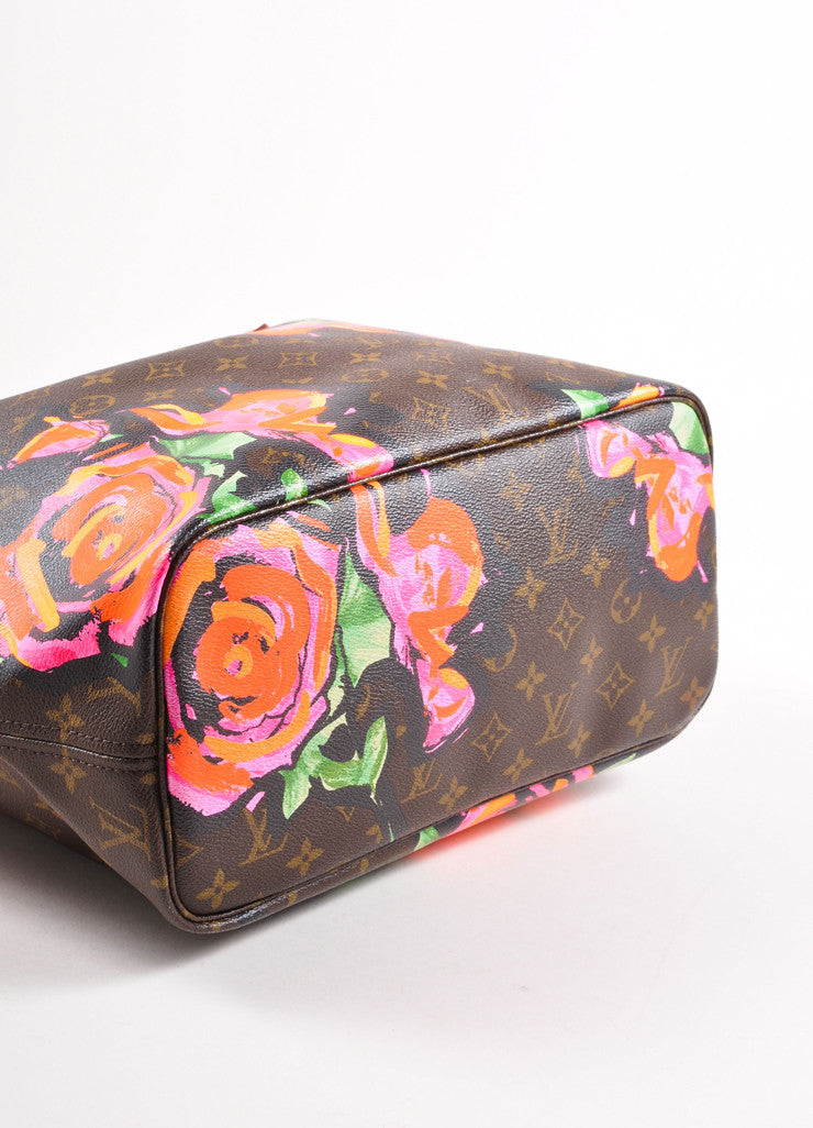 "Louis Vuitton x Stephen Sprouse Brown and Pink Monogram Canvas Roses ""Neverfull"" Tote Bag Bottom View"